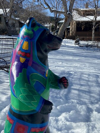 One of the 15 bear cubs and their Mama of our Art In The Park exhibit supporting Colorado artists and non profits. View the installation and play the accompanying cell phone scavenger hunt until May 2021. Bear maps available at check in.