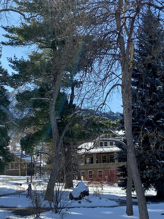 Flatirons and Community House views from the restful Centennial Garden in winter
