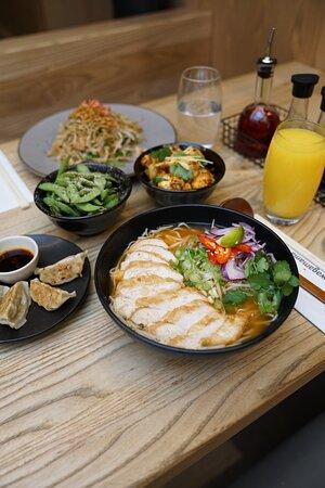 grilled chicken ramen   yaki soba   edamame   gyoza chicken   bang bang cauliflower