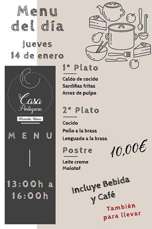 Nuestro menú para hoy Jueves 14 de enero!!! Esperamos que os guste!!! www.parrillaumia.com/menu https://fb.me/Casaportuguesa.parrillaumia https://www.instagram.com/casaportuguesaumia/ https://www.youtube.com/channel/UC9eDEa4qsHTjVTX4Ilbd8PA?view_as=subscriber
