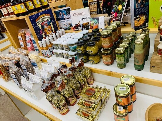 A variety of kelp seasonings, popcorn, biscotti, and the ever popular birch cream caramels!