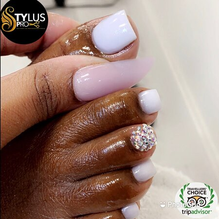 Pedicure with Acrylic and Rhinestones