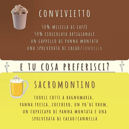 CONVIVIETTO o SACROMONTINO? 😋 Un bel dilemma!  Il convivietto celebra il cacao e il caffè mentre il sacromontino ti scalda con il suo zabaione aromatizzato al rhum. ☕  Concedetevi una pausa!