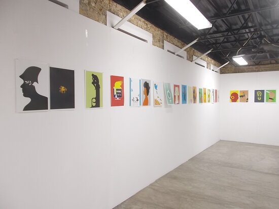 The collection of modern-art paintings which are all pretty-small-sized ones (on the 1st level)