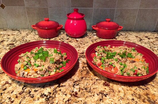 Sudbury, MA: Mushroom risotto with multicolored peppers, onion, sweet peas and scallions