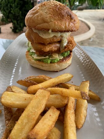 Fish and chips burger, served with hand-cut French fries