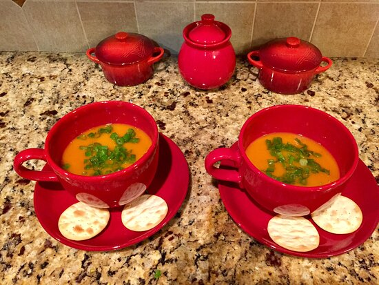 Sudbury, MA: Butternut squash and carrots soup with scallions