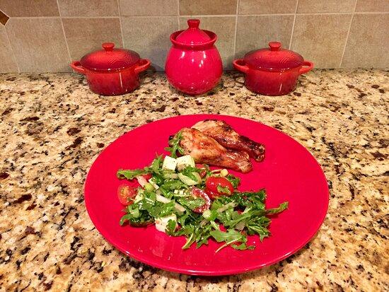 Sudbury, MA: Air fried Lemon Teriyaki chicken drumsticks and arugula salad with cherry tomatoes, cucumbers and tofu cubes
