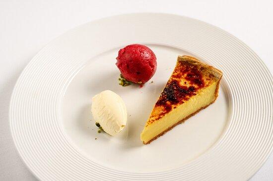 Lemon Tart Crème Fraiche and Raspberry Sorbet