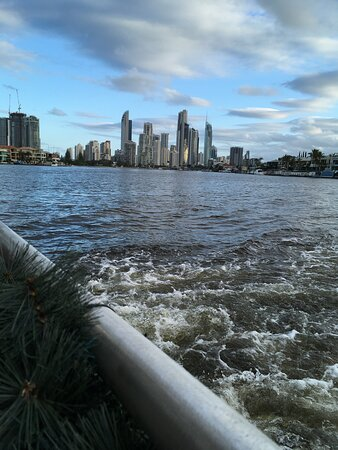 Gold Coast Dinner Cruise: Surfers Paradise skyline from the Evandale reach of the Nerang River.
