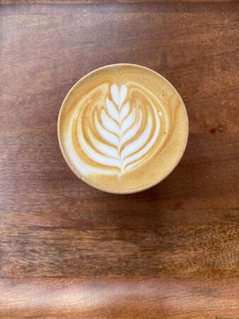 Beautiful and tasteful latte with oatmilk