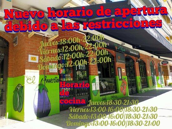 NUEVO HORARIO DE APERTURA COVID19  Jueves:18:00-22:00 Viernes:12:00-22:00 Sábado:12:00-22:00 Domingo:12:00-22:00  Horario de cocina : JUEVES:18:30-21:30 VIERNES:13:00-16:00/18:30-21:30 SÁBADO:13:00-16:00/18:30-21:30 DOMINGO:13:00-16:00/19:00-21:30