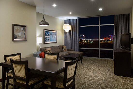 Enjoy a view of the Las Vegas strip in the comfort of your suite
