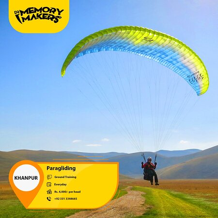 Visit us, for more details: https://m.facebook.com/DeMemoryMakers/posts/677757836189739  Enjoy Paragliding every day in Khanpur with Dè Memory Makers.  Cost: Rs. 4,000/- per head Location: Khanpur Duration: 2-3 minutes Ground Training  For Bookings Contact# +92-331-3344665