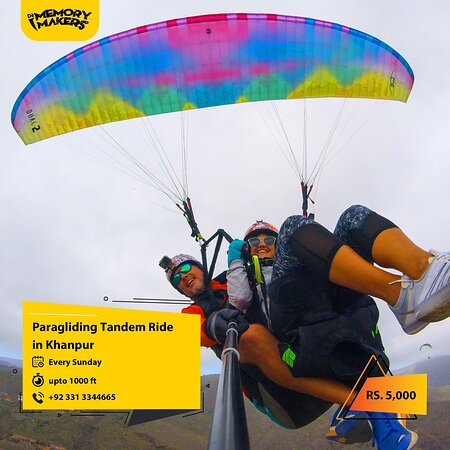 Visit us, for more details: https://m.facebook.com/DeMemoryMakers/posts/680562052575984  Enjoy Tendam Paragliding with Dè Memory Makers.  Cost: Rs 5,000/- per person Location: Khanpur Flight type: Tendam Availability: Every Sunday (Limited rides) height: up to 1000ft (Approximate)  For Bookings Contact us: +92-331-3344665 Call|WhatsApp|SMS