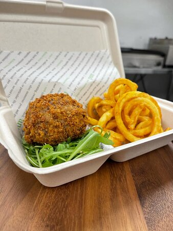 Handmade Scotch Egg and Curly Fries