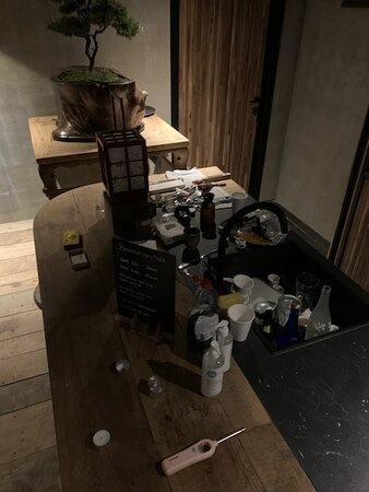 garbage in the bar area of the japanese baths