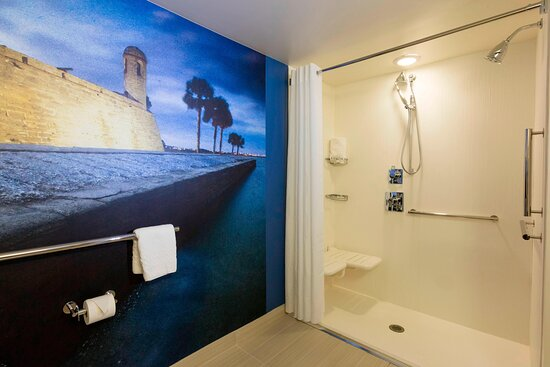 Accessible Guest Room Bathroom with Roll-in Shower