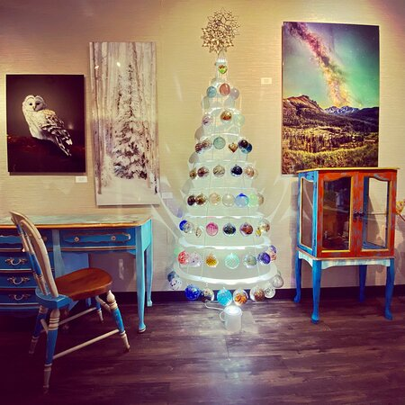 Modern Christmas Tree displaying our blown glass ornaments by Paul and Brian Lockwood. Furniture by Margo Carter, and artwork by Brooke Connor, Beth Riser and Jason Kaplan.