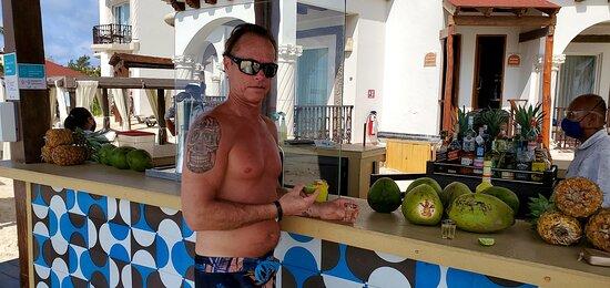 beach bar with Aurelio serving up shots