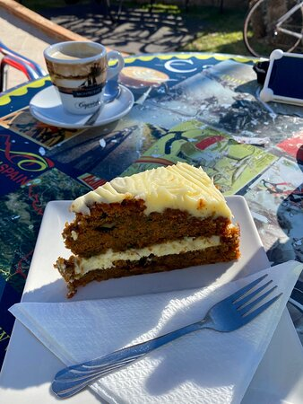 Amazing carrot cake and coffee