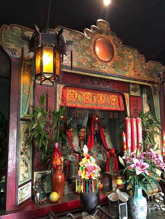Shrine and interior of the Mui Wo Man Mo Temple