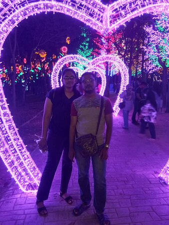 while taking this picture the background is very nice. The lights is very colorful.