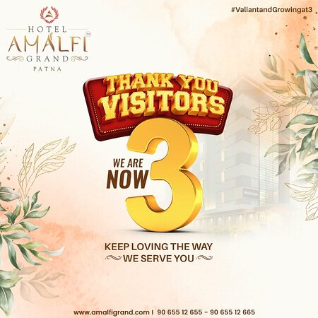 We have turned 3 today! At Hotel Amalfi Grand, we are amazed and overwhelmed by the love and support you have given us, Thank you visitors for loving the way we serve you! Moving into another year with the promise to spread the happiness of hospitality throughout.