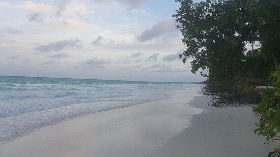 Strand bij het hotel