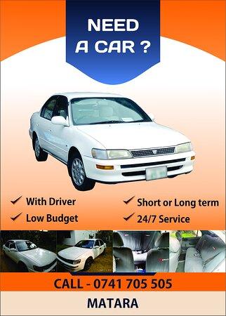 Rent a car service in Matara Sri Lanka Comfortable car with a driver.  Low budget. Short term or long term rentals.