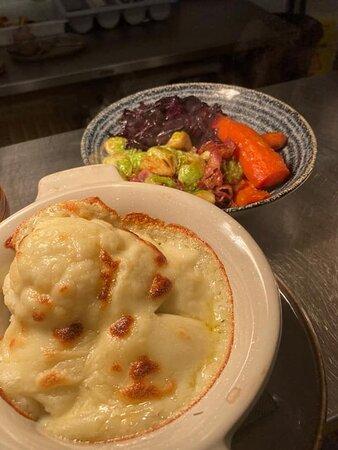 Cauliflower Cheese and Roast Veg