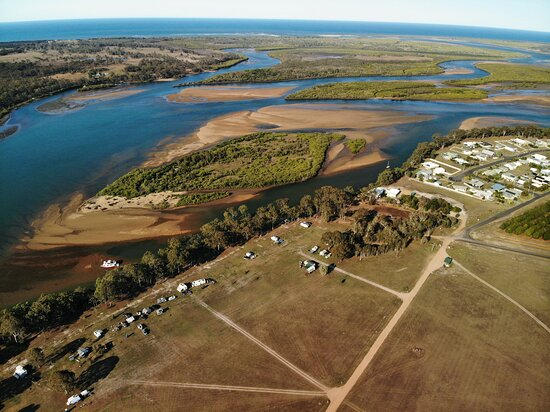 Aerial view Rocky Point retreat campground at Baffle Creek, Qld