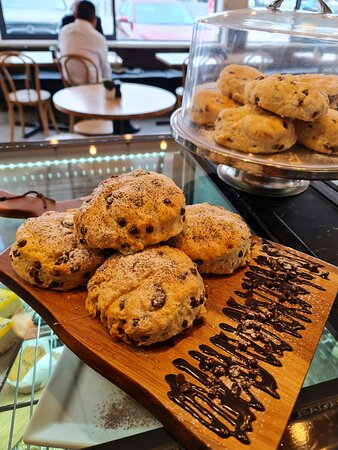 Chocolate and cranberry scones, from our cabinet selection.