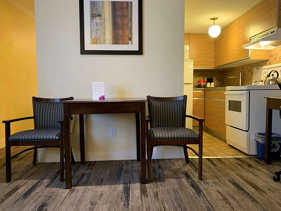 One bedroom suite dining table and kitchen