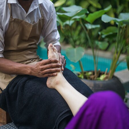 We pamper our guests with complimentary massage and reflexology by our pool.