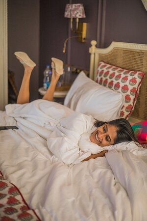 Everything from our sheets, pillows and robes are so soft, you can't resist rolling around in them.