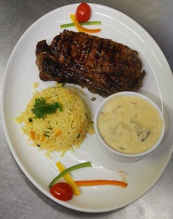 Sirloin Steak, Mushroom Sauce & Savory Rice