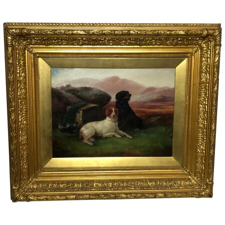 """Victorian Oil Painting Hunting """"Game Dogs"""" Signed Robert Cleminson (1864-1903)"""