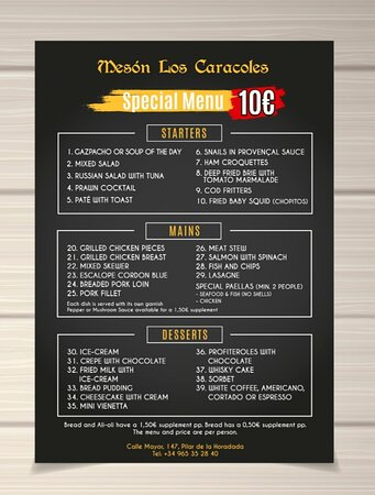 Special 10/10/10 Menu  Choice of 10 starters / 10 main dishes/ 10 desserts for ONLY 10 EUROS .