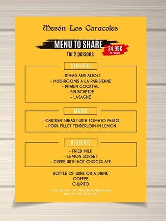 Fabulous menu to share