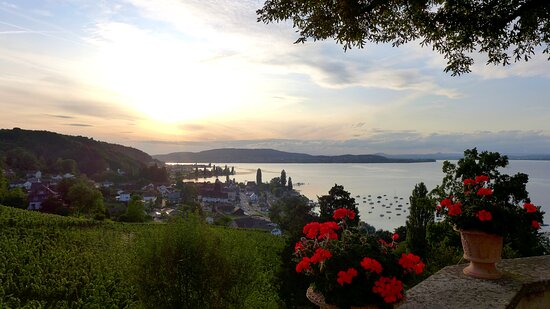 Canton of Thurgau, Switzerland: Arenenberg at sunset. Lake view. September 2019
