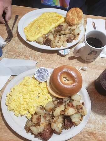 Omelet (top),three egg special with home frys and bagel $3.49