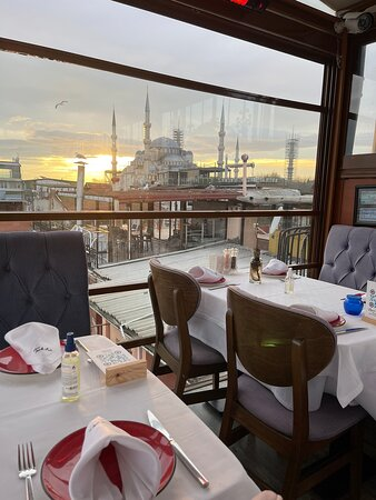 View and ambiance of Turk art terrace restaurant where you can have best seafood and view of Istanbul together  Enjoy your time here