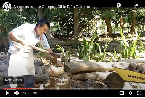 Making Coco Oil, first step