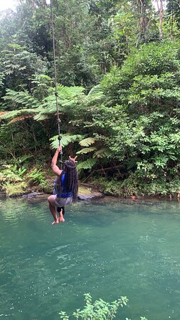 Rainforest River, Waterslide & Beach Adventure in Puerto Rico: Rope Swing into the river