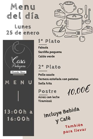 Nuestro menú para hoy Lunes 25 de enero!!! Esperamos que os guste!!! www.parrillaumia.com/menu https://fb.me/Casaportuguesa.parrillaumia https://www.instagram.com/casaportuguesaumia/ https://www.youtube.com/channel/UC9eDEa4qsHTjVTX4Ilbd8PA?view_as=subscriber