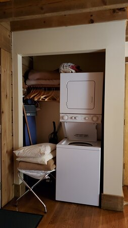 Laundry area/closet in downstairs bedroom