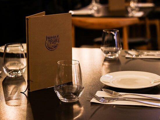 Paddock to Plate Waikato drinks list and table setting.