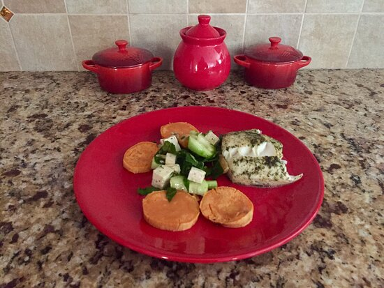 Sudbury, MA: Air fried sablefish with sweet potatoes rounds and spinach salad
