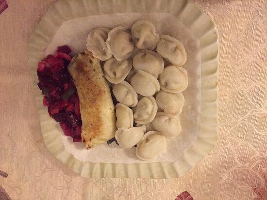 Sudbury, MA: Pelmeni (Russian chicken ravioli), chicken blintzes and beet vinaigrette